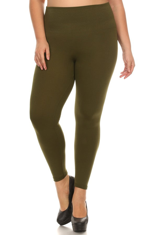 green seamless plus size leggings