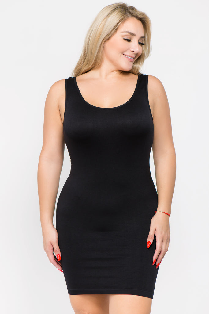 blue plus size slip top
