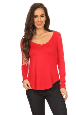 Look Your Best V-Neck Long Sleeve Top