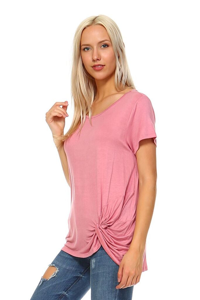 Women's Scoopneck Twisted Knot Tunic Top