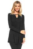black long sleeve tunic tops for women 2019