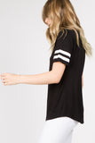 black short sleeve ringer top