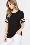 black short sleeve scoopneck tops