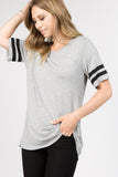 grey varsity striped tunic tops