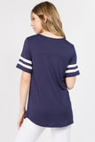 navy short sleeve ringer tee