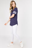 navy blue oversized tee with stripes