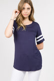 blue short sleeve crewneck tops