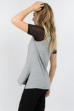 grey short sleeve oversized tee with mesh