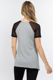 mesh short sleeve tunic top