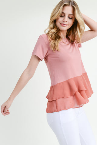 Allison Short Sleeve Pleat Hem Top