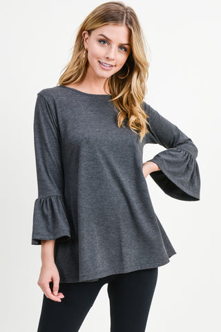 Breezy Does It Bell Sleeve Knit Top