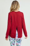 dark red open back top