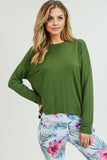 olive green long sleeve yoga top