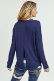 blue long sleeve open back shirt