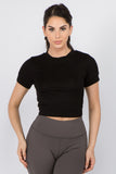 Women's Surplice Cutout Back Crop Top