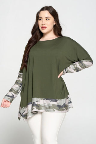 Plus Size Camo Print Oversized Tunic Top