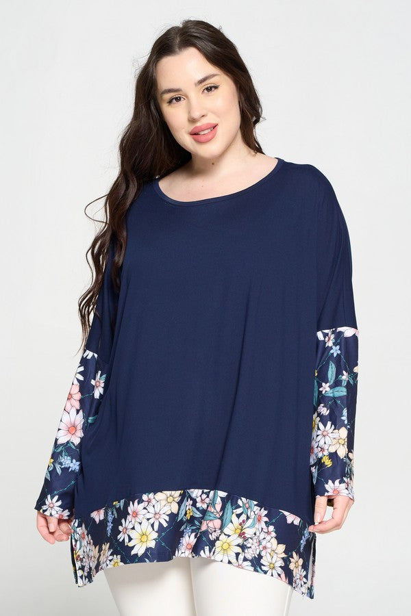 Plus Size Floral Detail Oversized Tunic Top