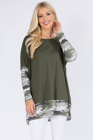 Camo Print Oversized Tunic Top