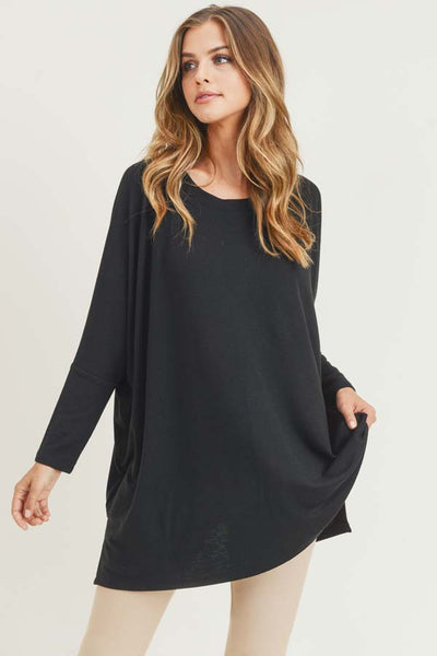 Maxi black top Asymmertic  black dress Molimarks Dolman sleeve tunic Casual Asimmertric Long top One sleeve tunic Oversize tunic