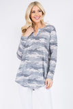 Front Notch Camo Print Tunic Top