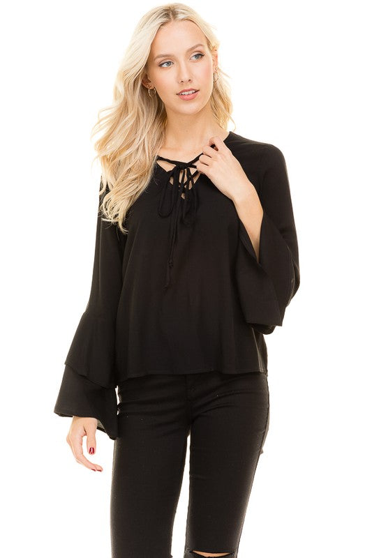 Flow Freely Lace-Up Bell Sleeve Top