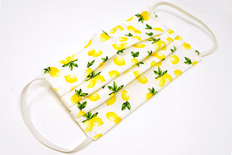 Lemon Design Cotton Mask with Nose Wire Filter Pocket