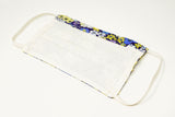Blue Floral Design Cotton Mask with Nose Wire Filter Pocket