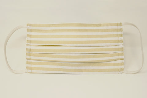 Beige Stripe Cotton Mask with Nose Wire Filter Pocket
