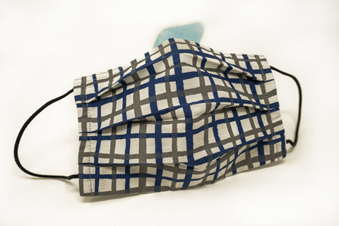 Navy Grey Grids Cotton Mask with Nose Wire Filter Pocket