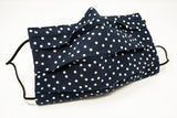 Navy polkadot Cotton Mask with Nose Wire Filter Pocket