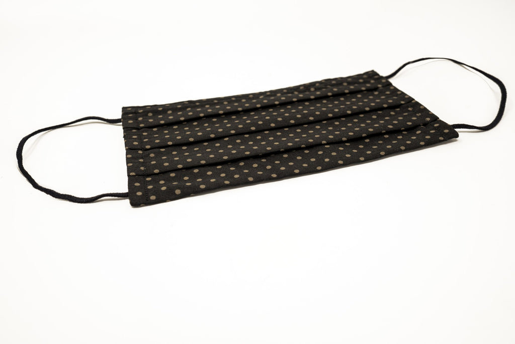 Black Khaki Dots Cotton Mask with Nose Wire Filter Pocket