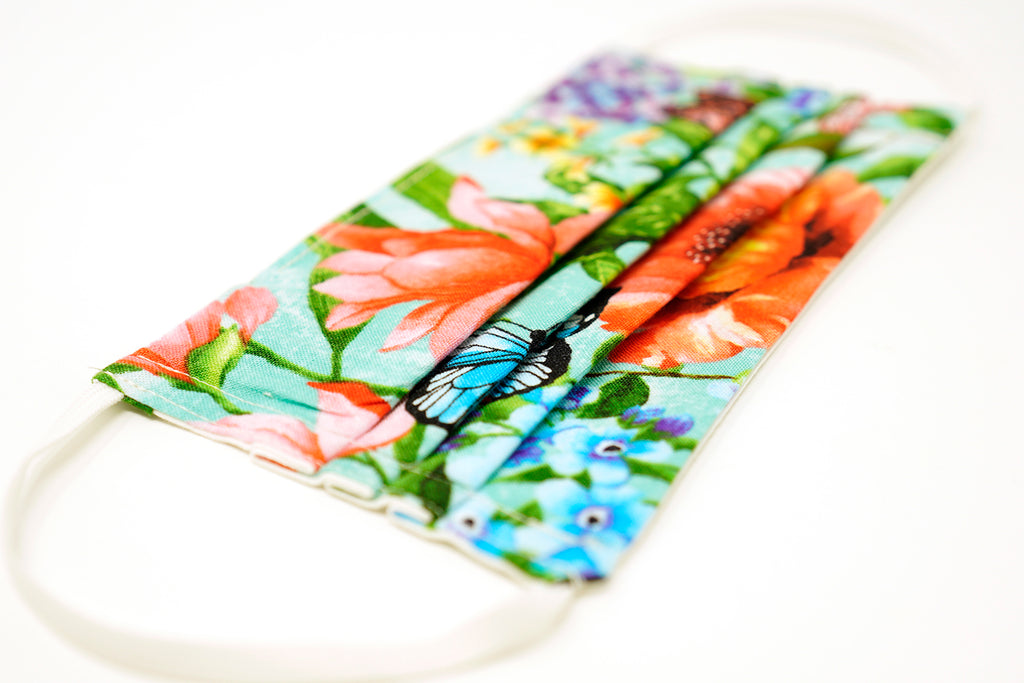 Pre-Order - Blossom Design Cotton Mask with Nose Wire Filter Pocket