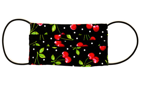 Pre-Order - Cherries Design Cotton Mask with Nose Wire Filter Pocket