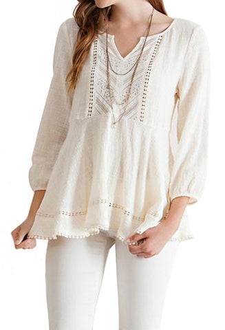 White Lace Button Down Blouse
