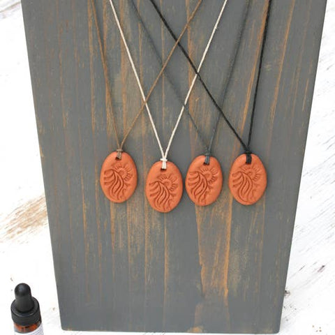 Oval Terra Cotta Diffuser Pendant/Necklace
