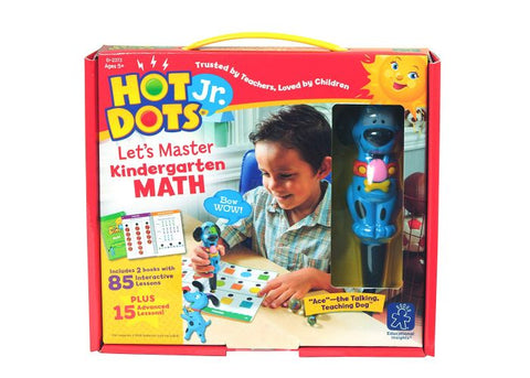 Educational Insights Hot Dots Jr Let's Master Kindergarten Math Set with Ace—The Talking, Teaching Dog Pen