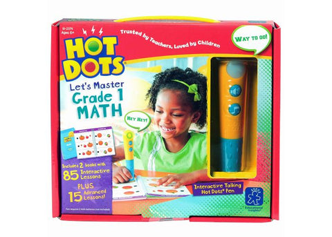 Educational Insights Hot Dots Jr. Let's Master Grade 1 Math Set with Hot Dots Pen