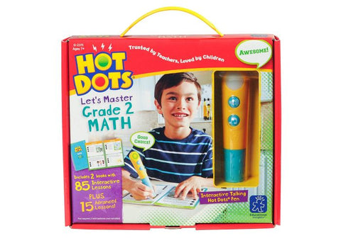 Educational Insights Hot Dots Jr. Let's Master Grade 2 Math Set with Hot Dots Pen