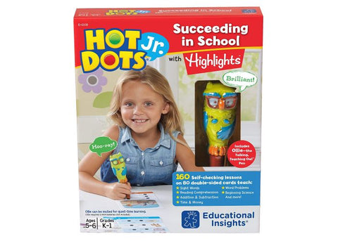 Educational Insights Hot Dots Jr. Succeeding in School with Highlights Set with Ollie—The Talking, Teaching Owl Pen