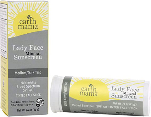 Earth Mama Organics Lady Face Mineral Sunscreen Face Stick