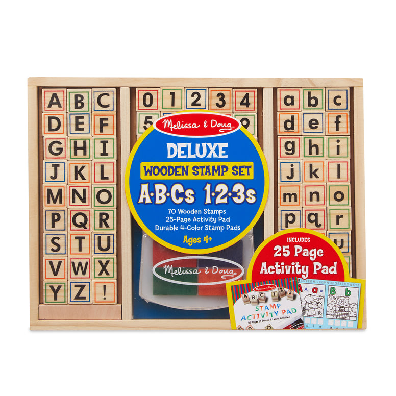Melissa & Doug ABCs 123s Deluxe Wooden Stamp Set