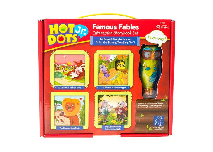 Educational Insights Hot Dots® Jr. Famous Fables Interactive Storybook Set with Ollie—The Talking, Teaching Owl™ Pen