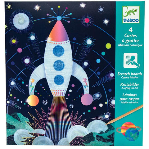 DJECO Petit Gifts Scratch Boards Cosmic Mission