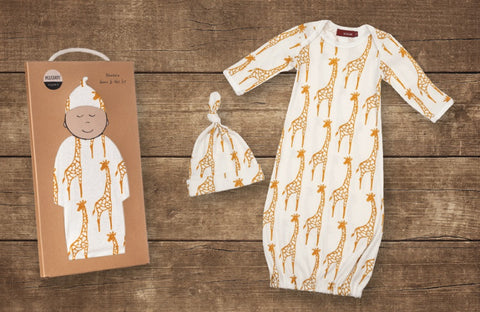 Milkbarn Organic Newborn Gown & Hat Set