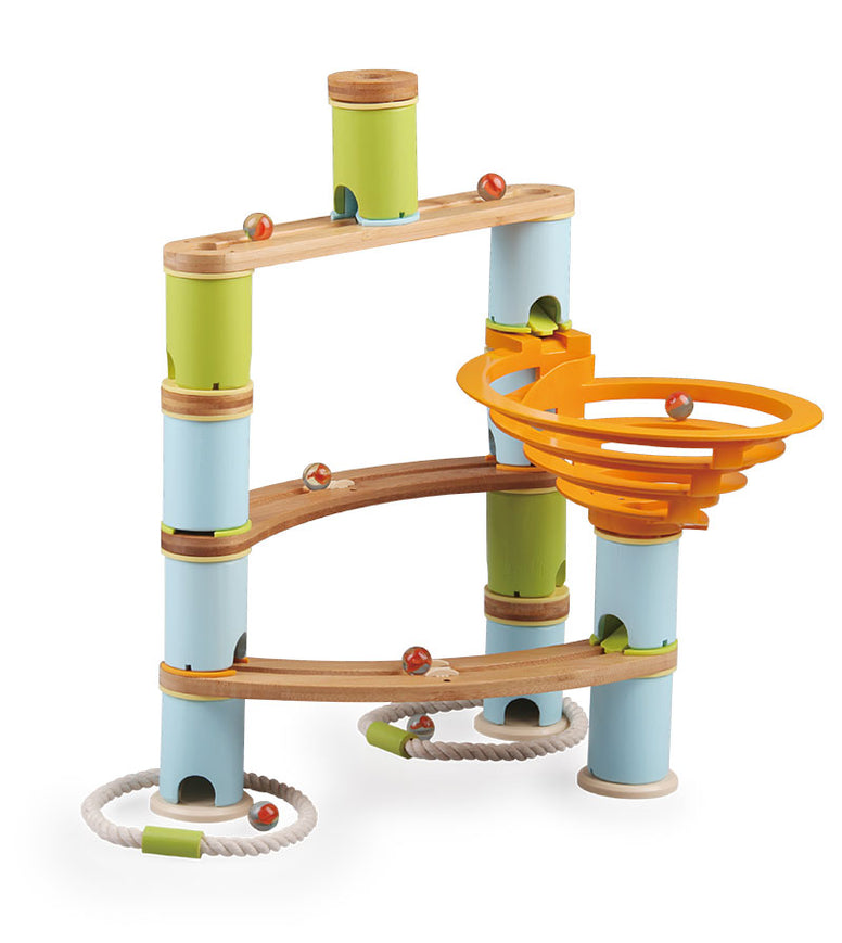 Fat Brain Toy Co Bamboo Builder Marble Run 78 Piece Set