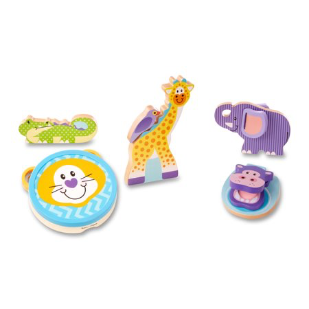Melissa & Doug First Play Safari Animal Wooden Musical Instruments (6 Pcs)