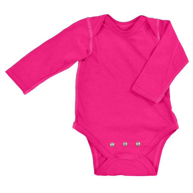 I Play Long Sleeve Bodysuit made from Organic Cotton - Bright Pink