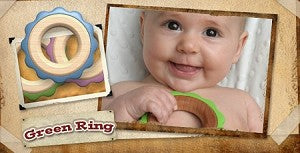 Begin Again Toys Green Ring Teether Green