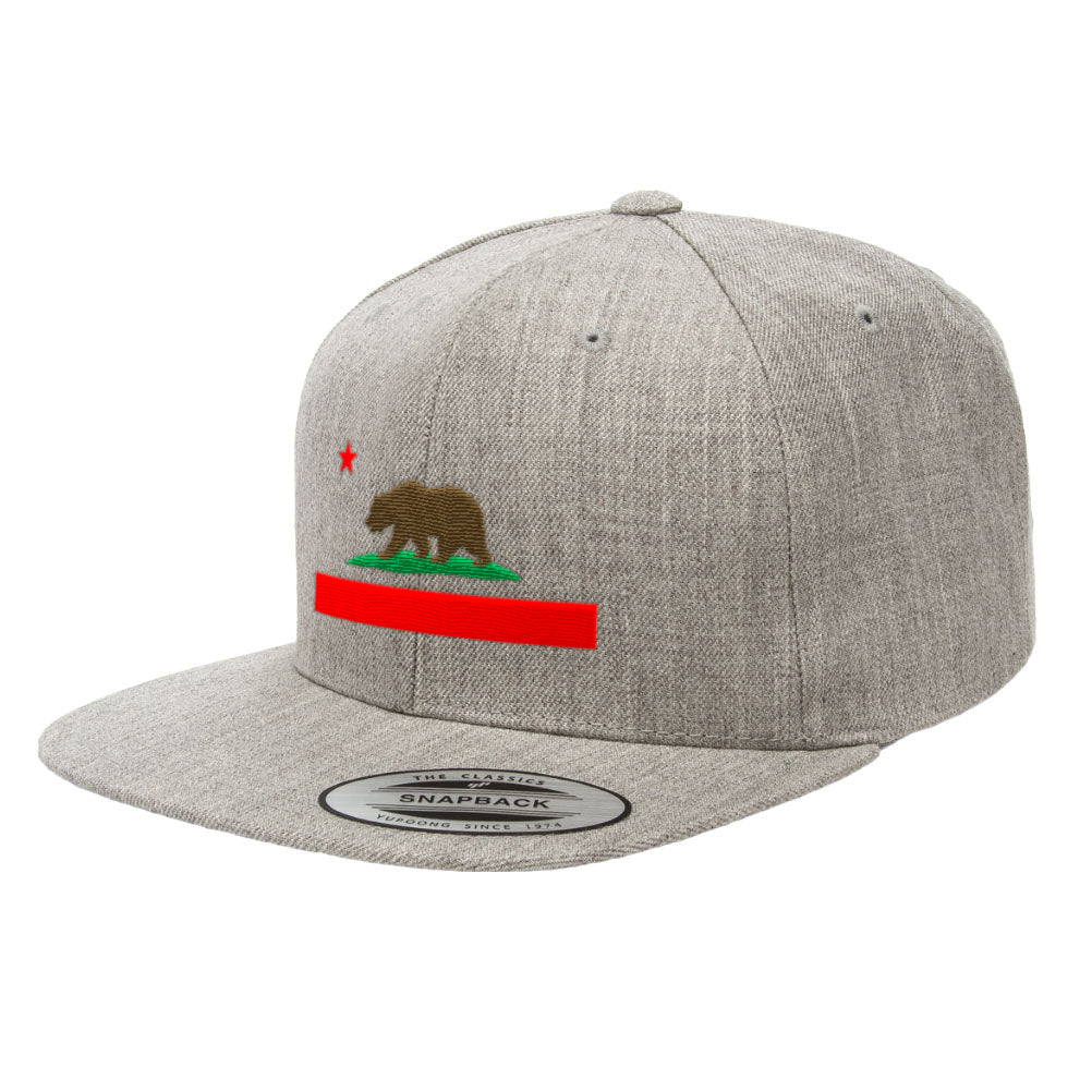 California State Flag Snapback Hat Premium Republic Bear Cap 6089M