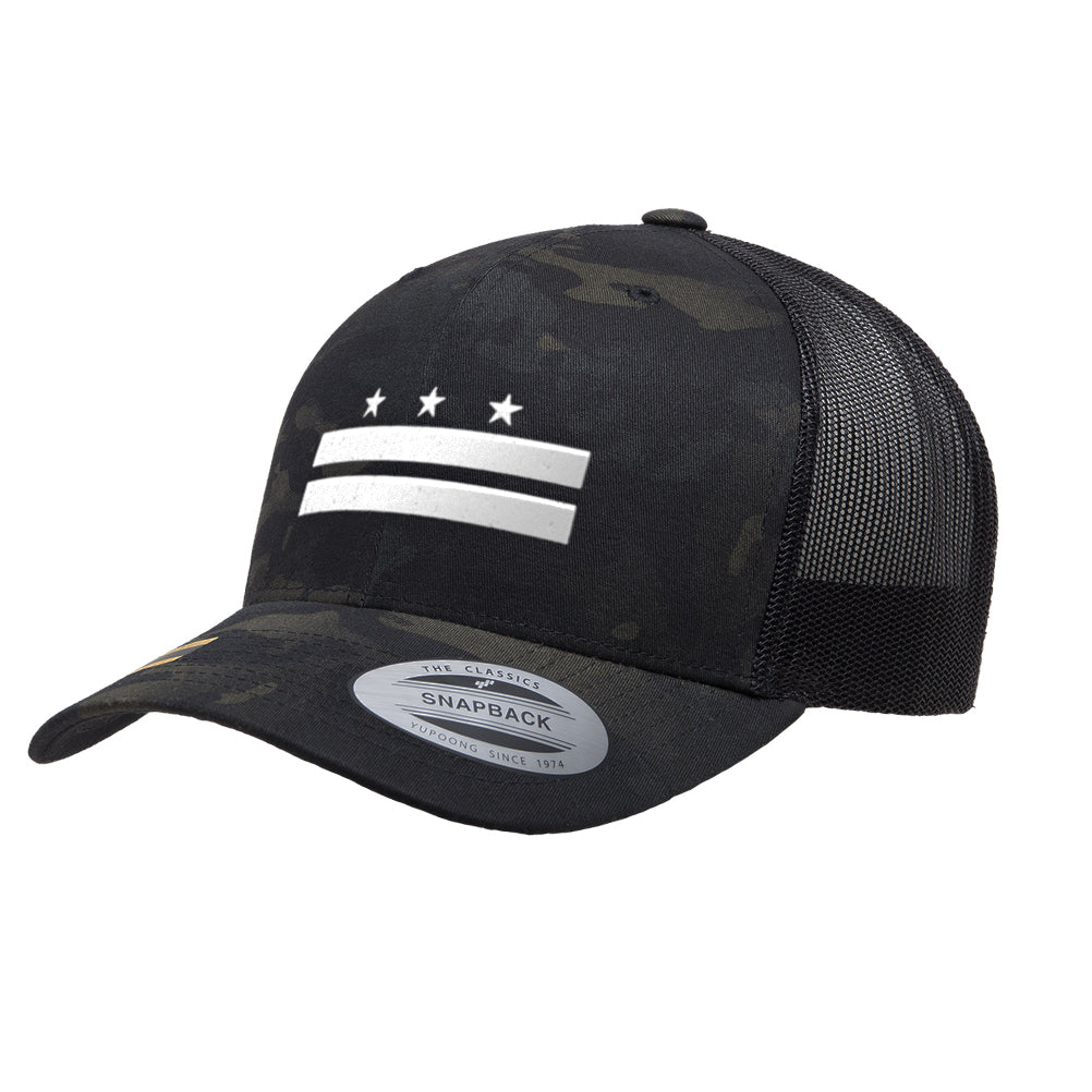 Washington D.C. Flag Mesh Snapback Premium Yupoong Adult Retro Trucker Cap Hat 6006
